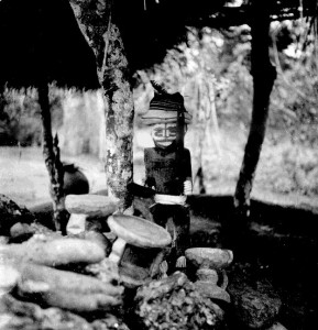 Alusi Figure in another shrine of a tutelary deity of one of the adjacent villages erected on the road from Udi to Ngwo on the escarpment above Enugu township, Obioma town, Abaja, Northern Igbo