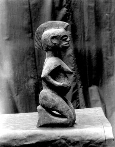 Carved wooden figure North Ika, stray Yoruba influence