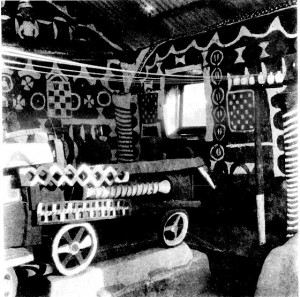 rain juju Interior of the house of the train juju (alusi) showing the engine. Made by the people of Nike in honor of the railway that runs through their land. (Enugu)