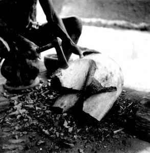 Carving a stool Early stages of carving a stool similiar to the one shown above, Amobia village, Nri-Awka
