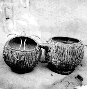 Calabash containers with basketry coverings