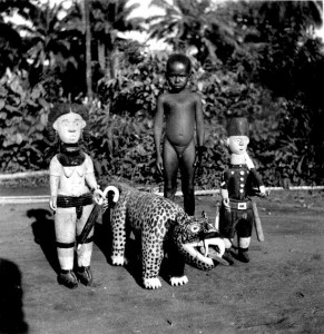 Child with modern carvings A woman, leopard and policeman Nri-Awka